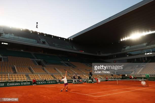 General view inside Court Philippe-Chatrier as Stefanos Tsitsipas of Greece serves in his First Round match against Jeremy Chardy of France during...