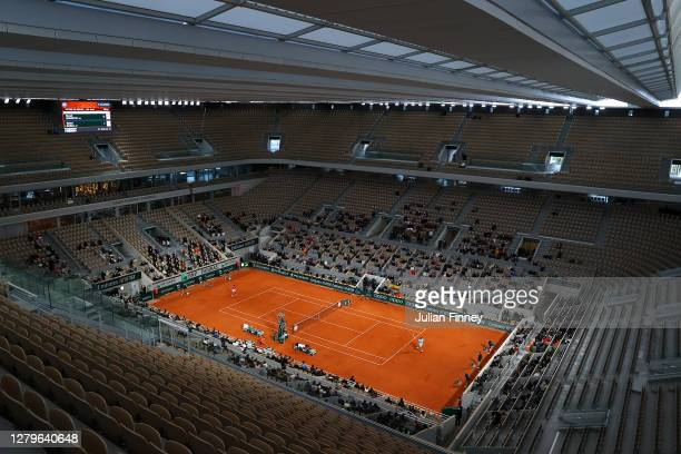 General view inside Court Philippe-Chatrier during the Men's Singles Final between Rafael Nadal of Spain and Novak Djokovic of Serbia on day fifteen...