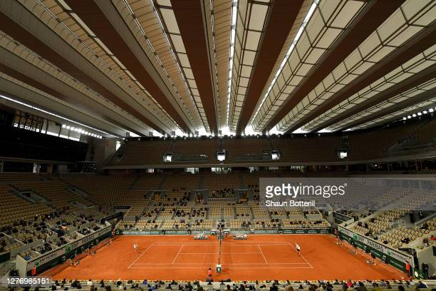 General view inside Court Philippe-Chatrier during the Women's Singles first round match between Anett Kontaveit of Estonia and Caroline Garcia of...