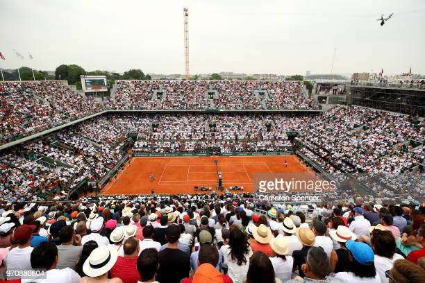 General view inside Court Phillipe Chatrier during the mens singles final between Rafael Nadal of Spain and Dominic Thiem of Austria during day...