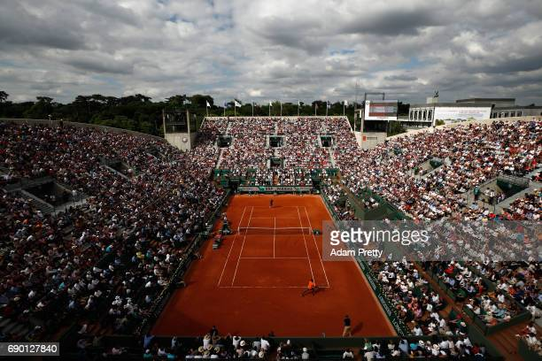 A general view inside Court Suzanne Lenglen during the mens singles first round match between Gael Monfils of France and Dustin Brown of Germany on...