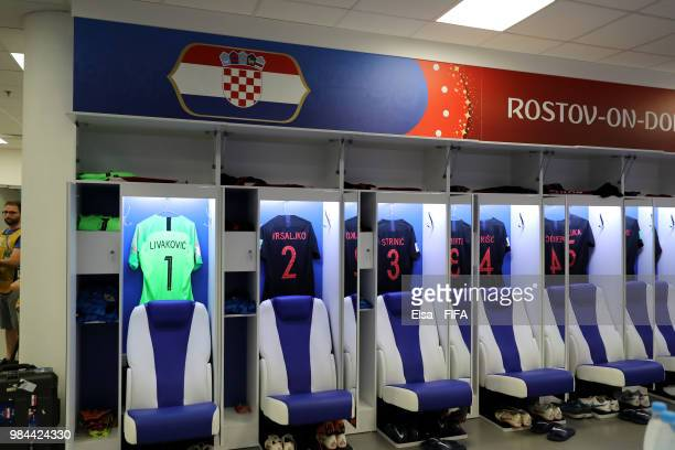 General view inside Croatia dressing room prior to the 2018 FIFA World Cup Russia group D match between Iceland and Croatia at Rostov Arena on June...