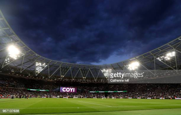 General view inside during the Premier League match between West Ham United and Manchester United at London Stadium on May 10 2018 in London England