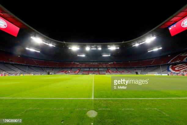 General view inside empty the arena prior the UEFA Champions League Group A stage match between FC Bayern Muenchen and Lokomotiv Moskva at Allianz...