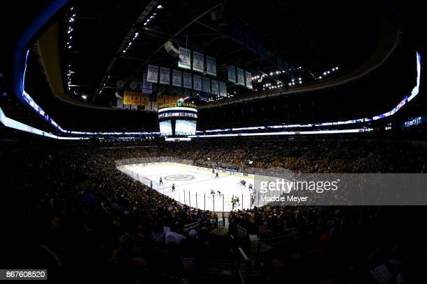 A general view inside TD Garden during the first period of the game between the Boston Bruins and the Los Angeles Kings on October 28 2017 in Boston...