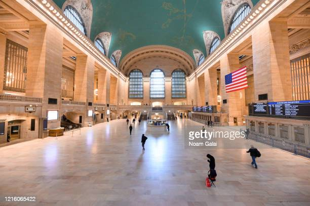 General view inside Grand Central Terminal during the Coronavirus pandemic on March 31, 2020 in New York City. President Trump has extended the...