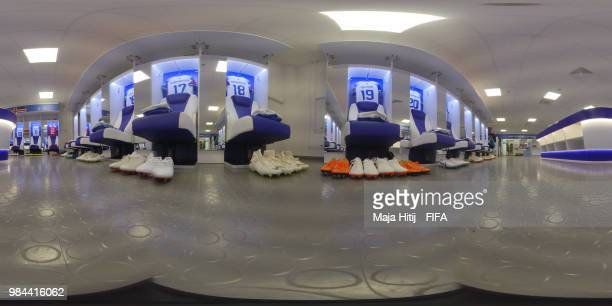 General view inside Iceland dressing room prior to the 2018 FIFA World Cup Russia group D match between Iceland and Croatia at Rostov Arena on June...