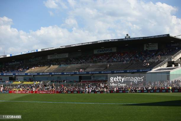 A general view inside Ikon Park during the AFLW Preliminary Final match between the Carlton Blues and the Fremantle Dockers at Ikon Park on March 23...