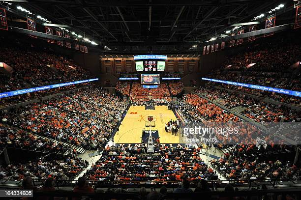 A general view inside John Paul Jones Arena during a game between the Duke Blue Devils and the Virginia Cavaliers on February 28 2013 in...
