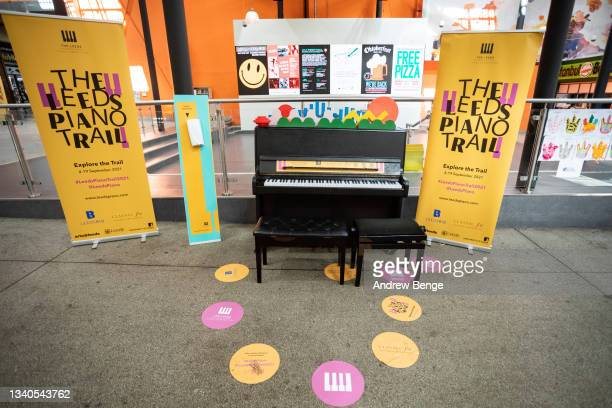 General view inside Kirkgate Market of the Leeds Piano Trail 2021 on September 15, 2021 in Leeds, England.