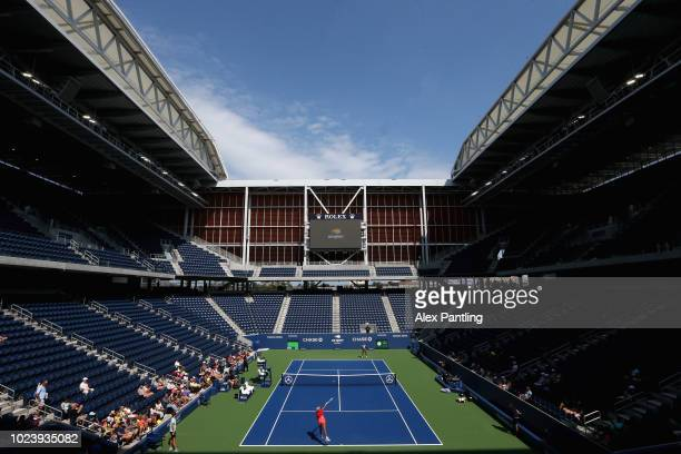 A general view inside Louis Armstrong stadium as Simona Halep of Romania trains prior to the US Open at USTA Billie Jean King National Tennis Center...