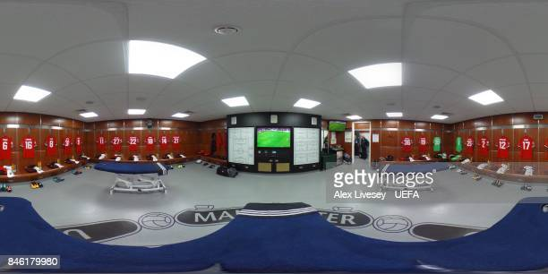 A general view inside Manchester United's dressing room prior to the UEFA Champions League group A match between Manchester United and FC Basel at...