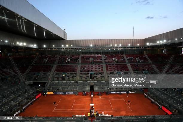 General view inside Manolo Santana Stadium as Maria Sakkari of Greece plays Karolina Muchova of Czech Republic during day six of the Mutua Madrid...