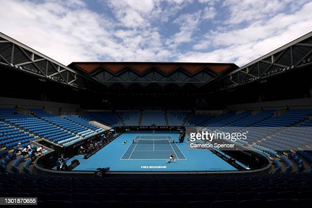 General view inside Margaret Court Arena in the Women's Singles third round match between Kaia Kanepi of Estonia and Donna Vekic of Croatia during...