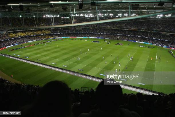 General view inside Marvel Stadium during the round one A-League match between Melbourne Victory and Melbourne City at Marvel Stadium on October 20,...