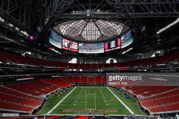 A general view inside MercedesBenz Stadium during a walkthrough tour on August 15 2017 in Atlanta Georgia