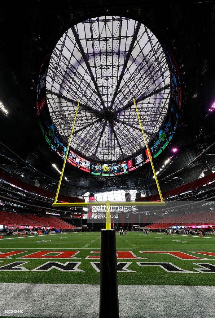 A general view inside Mercedes-Benz Stadium during a walkthrough tour on August 15, 2017 in Atlanta, Georgia.