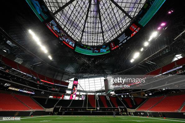 A general view inside Mercedes-Benz Stadium during a ...