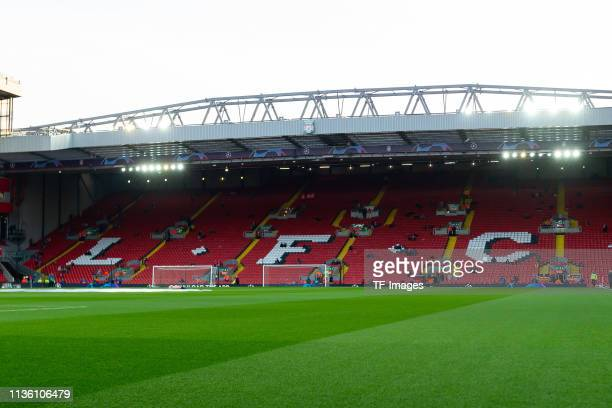 General view inside of Anfield prior to the UEFA Champions League Quarter Final first leg match between Liverpool and Porto at Anfield on April 09,...