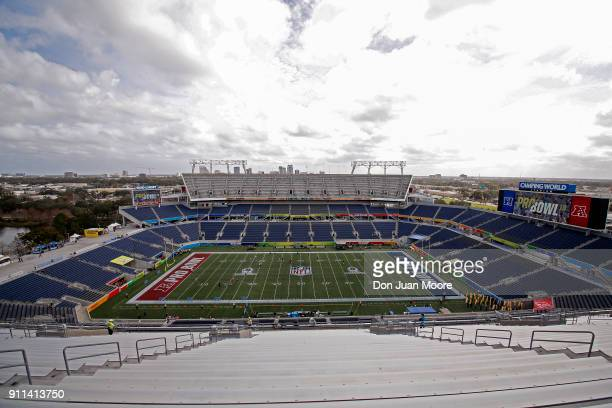 A general view inside of Camping World Stadium before the start of the 2018 NFL Pro Bowl Game between the NFC team against the AFC team on January 28...