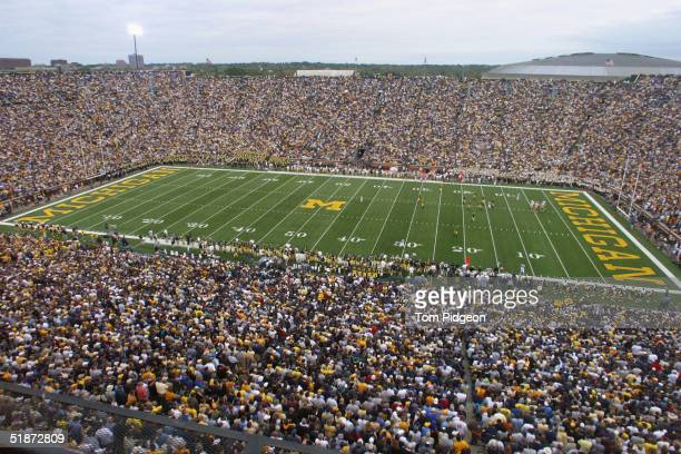 General view inside of Michigan Stadium during the game between the Iowa Hawkeyes and the Michigan Wolverines on September 25 2004 in Ann Arbor...