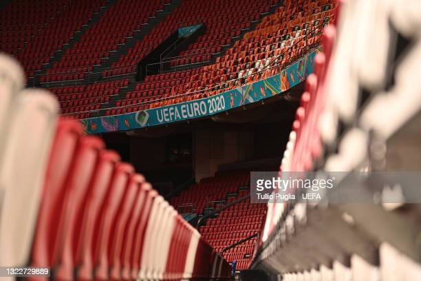 General view inside of the Johan Cruijff ArenA ahead of the UEFA Euro 2020 Championship on June 09, 2021 in Amsterdam, Netherlands.