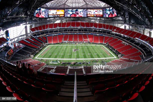 A general view inside of the MercedesBenz Stadium before the Atlanta Falcons play the Jacksonville Jaguars in a preaseason game on August 31 2017 in...