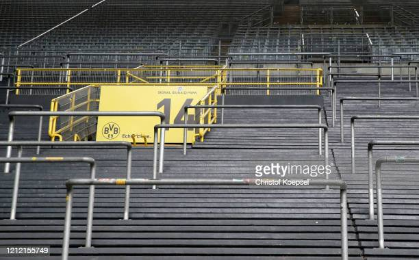 General view inside of the Signal Iduna Park on March 13, 2020 in Various Cities, Germany. The German football league DFL announced today that the...