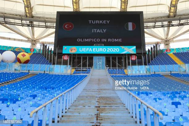 General view inside of the Stadio Olimpico during the set up ahead of the UEFA Euro 2020 Championship at Stadio Olimpico on June 09, 2021 in Rome,...