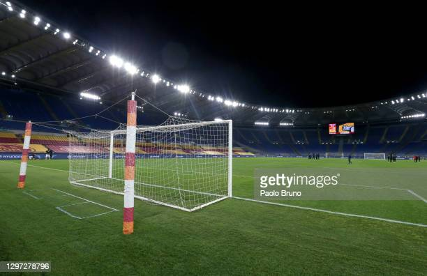 General view inside of the stadium ahead of the Coppa Italia match between AS Roma and AC Spezia at Olimpico Stadium on January 19, 2021 in Rome,...
