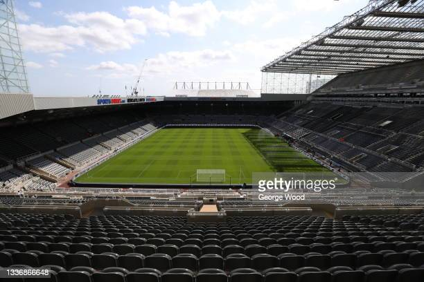 General view inside of the stadium ahead of the Premier League match between Newcastle United and Southampton at St. James Park on August 28, 2021 in...