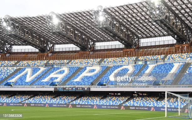 General view inside of the stadium ahead of the Serie A match between SSC Napoli and SS Lazio at Stadio Diego Armando Maradona on April 22, 2021 in...