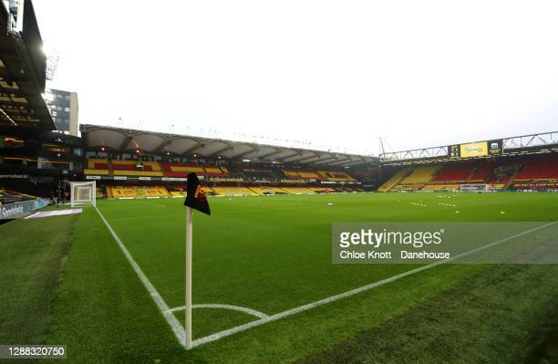 General view inside of the stadium ahead of the Sky Bet Championship match between Watford and Preston North End at Vicarage Road on November 28,...