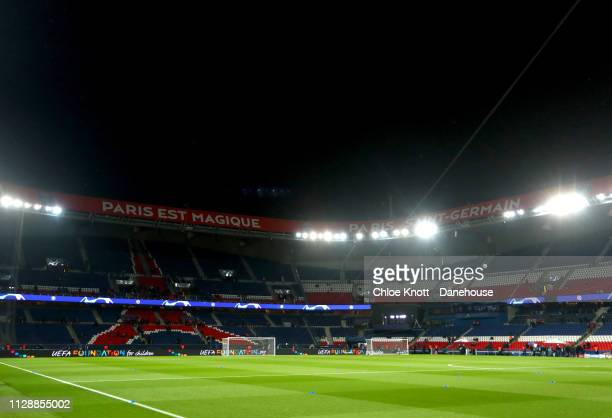 General view inside of the stadium ahead of the UEFA Champions League Round of 16 second leg match between Paris Saint Germain and Manchester United...