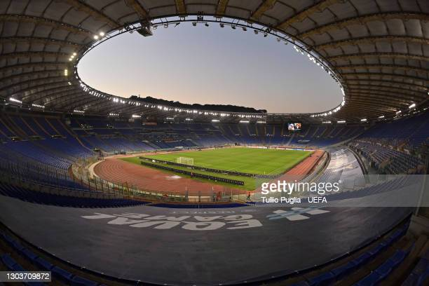 General view inside of the stadium ahead of the UEFA Champions League Round of 16 match between Lazio Roma and Bayern München at Olimpico Stadium on...