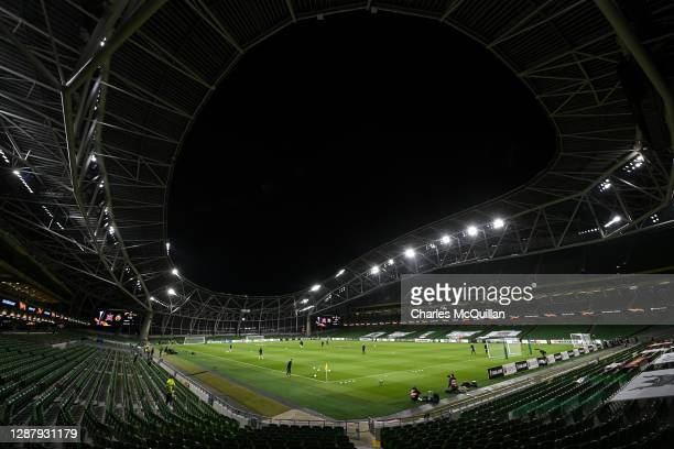 General view inside of the stadium ahead of the UEFA Europa League Group B stage match between Dundalk FC and Rapid Wien at Aviva Stadium on November...