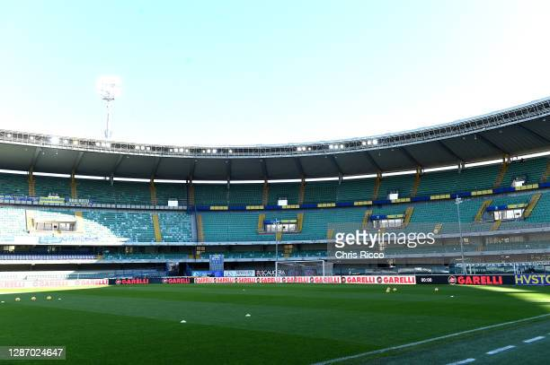 General view inside of the stadium prior to kick off during the Serie A match between Hellas Verona FC and US Sassuolo at Stadio Marcantonio...
