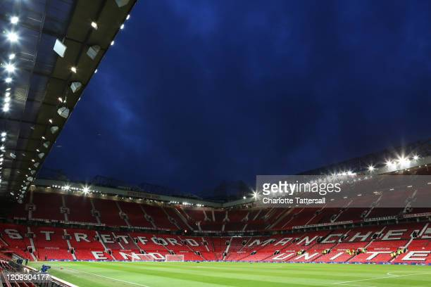 A general view inside Old Trafford prior to the FA Youth Cup Sixth Round match between Manchester United and Wigan Athletic at Old Trafford on...
