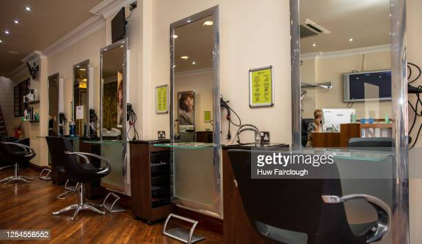 General view inside Q Studio hair salon ahead of opening to the public for the first time since the start of pandemic on July 6, 2020 in Blackwood,...