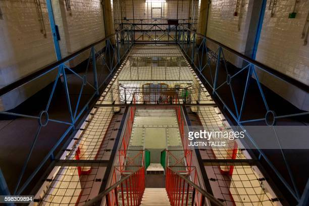 A general view inside Reading prison during an exhibition photocall at the prison in Reading west of London on September 1 2016 Having closed it's...