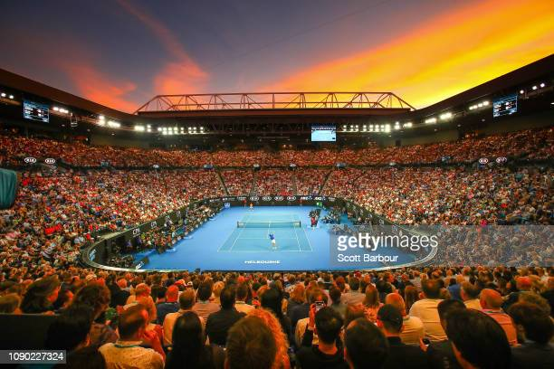 A general view inside Rod Laver Arena at sunset during the Men's Singles Final match betwen Novak Djokovic of Serbia and Rafael Nadal of Spain during...