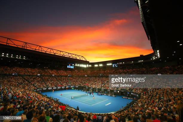 General view inside Rod Laver Arena at sunset during the Men's Singles Final match betwen Novak Djokovic of Serbia and Rafael Nadal of Spain during...
