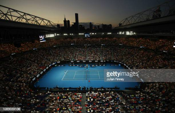 A general view inside Rod Laver Arena during the first round match between Novak Djokovic of Serbia and Mitchell Krueger of the United States on day...