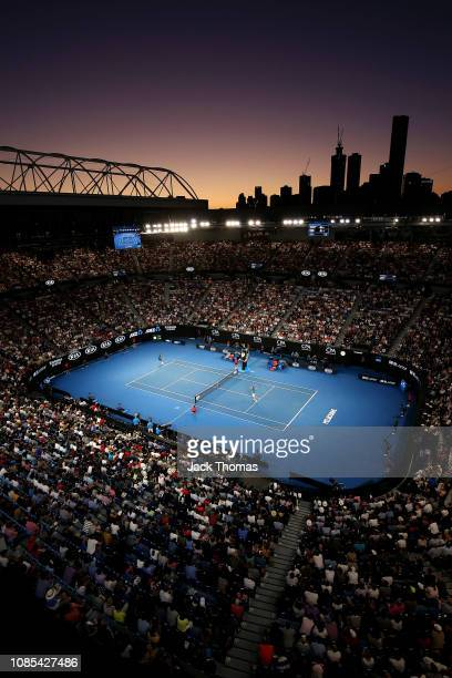A general view inside Rod Laver Arena during the fourth round match between Roger Federer of Switzerland and Stefanos Tsitsipas of Greece during day...