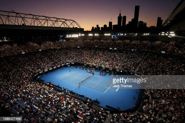 A general view inside Rod Laver Arena during the fourth round match between Roger Federer of Switzerland and Stefanos Tsitspas of Greece during day...