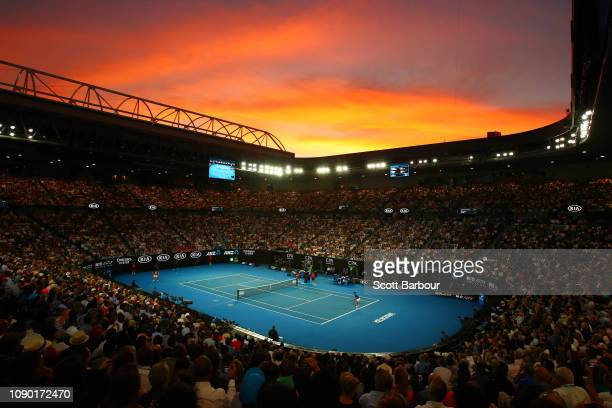 General view inside Rod Laver Arena during the Men's Singles Final match between Novak Djokovic of Serbia and Rafael Nadal of Spain during day 14 of...