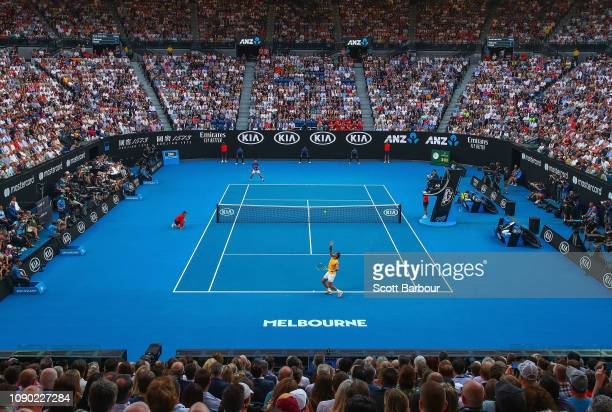 General view inside Rod Laver Arena during the Men's Singles Final match betwen Novak Djokovic of Serbia and Rafael Nadal of Spain during day 14 of...