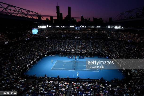 General view inside Rod Laver Arena during the Men's Singles Final match between Dominic Thiem of Austria and Novak Djokovic of Serbia on day...
