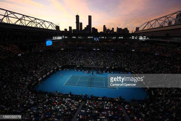 General view inside Rod Laver Arena during the Men's Singles fourth round match between Nick Kyrgios of Australia and Rafael Nadal of Spain on day...