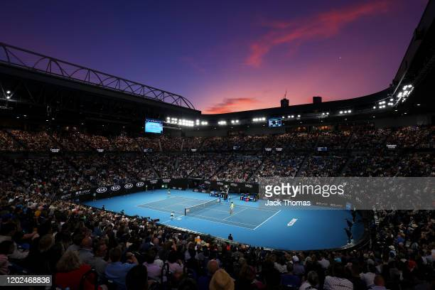 General view inside Rod Laver Arena during the Men's Singles Quarterfinals match between Novak Djokovic of Serbia and Milos Raonic of Canada on day...